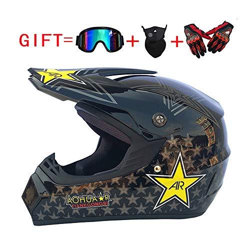 LEENY Professionel Motocross Helm, Adult Cross-Helm Mountainbike-Off-Road-Helm, Motorrad Sport DH Enduro Helm ATV MTB Quad Motorräder Motorradhelm mit Handschuhe, Maske, Brille,S