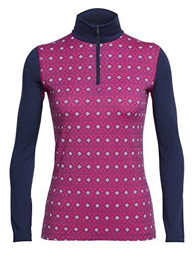 Icebreaker Damen Oasis LS Half Zip Align Funktionsshirt, Pop Pink/Snow/Admiral, XS Preisvergleich