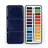 Delmkin Deckfarbekasten Wasserfarben 24 Farben Aquarell Malkasten