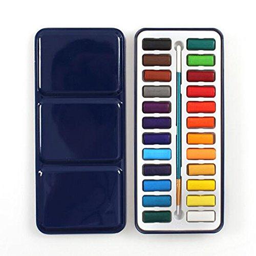 Delmkin Deckfarbekasten Wasserfarben 24 Farben Aquarell Malkasten (24 Farben)