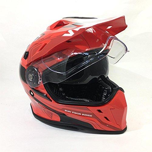 Nuovo casco moto viper v288 casco motocross doppia visiera off road quad racing mx casco sportivi , flame rosso - flame red - large