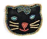 Broche velours chat noir - Bijou fantaisie