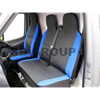 Citroen Dispatch hasta 2008 Van fundas de asiento antracita II + azul mitras (1 individual + 1 doble)