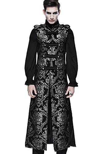 Devil Fashion Gothic Herren Retro Elegante Persönlichkeit Ärmellos Mantel Lange Steampunk Männer Mode Stickerei Mittelalter Stil Weste Jacke (2XL, Golden)