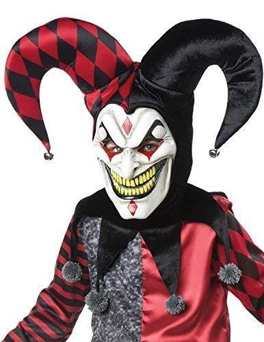 Fancy Me Herren Demented Hofnarr Halloween Horror Unheimlich mit Kapuze Hut Kragen Gummi Kostüm Kleid Outfit Maske