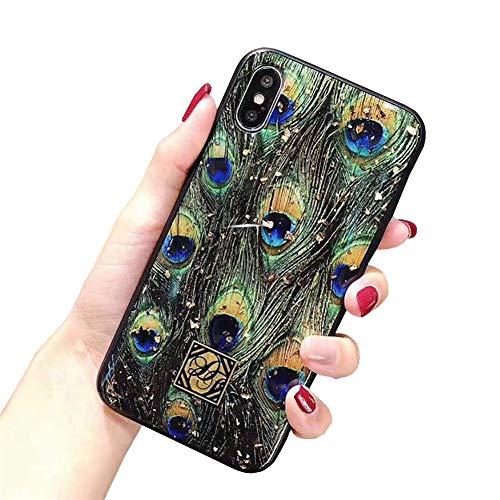 CXvwons Hülle iPhone XS MAX, Hülle Case iPhone X XS Bling Schutzhülle 3D Muster Kratzfest TPU Silikon Bumper iPhone XR Handyhülle Schutzhülle Tasche für iPhone XS MAX (iPhone XS MAX, B Feder)