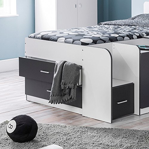 Happy Beds Cookie Cabin Bed Kids Wooden White and Charcoal Grey Frame Only 3' Single 90 x 190 cm