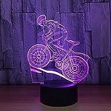 WJPDELP-YEDE Pilote de vélo de Montagne 3D veilleuse 7 Couleurs changent LED Lampe de Table de Bureau...