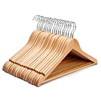 KEPLIN Pack of 20 Strong Premium Wooden Coat Hangers with Round Trouser Bar and Shoulder Notches
