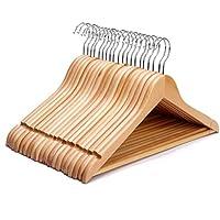 J.S. Hanger Perchas de madera resistente, multifuncional, para trajes, americanas, abrigos, camisas y blusas, de alta calidad, acabado natural (20 unidades)