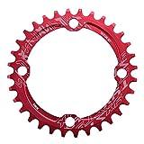 Alomejor Bike Chain Ring 32/34/36 / 38T BCD 104 Piezas de reparación de Anillo de Cadena de Acero de Bicicleta de montaña Solo para Piezas de Ciclismo al Aire Libre(32T-Rojo)