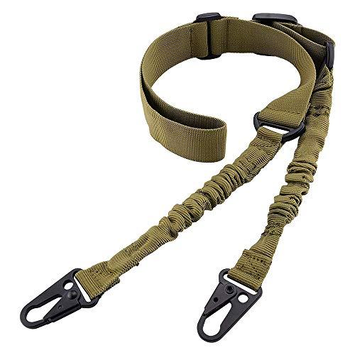 SHIYM-belt, Im Freien taktischen 2-Punkt-Gewehr-Riemen-Schultergurt Außengewehrriemen mit QD Metallschnalle Shotgun Gewehr-Gürtel Jagd Strap (Farbe : Khaki) -