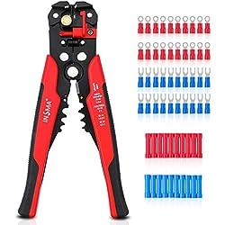 INSMA Pince à dénuder Pince à dénuder automatique Pince à sertir Multi-fonctions 0.5-6mm²/ 22-10AWG Pince à dénuder 0.2-6mm² / 24-10AWG Pince à dénuder avec 60 cosses pour Outil Dénudeur de cable