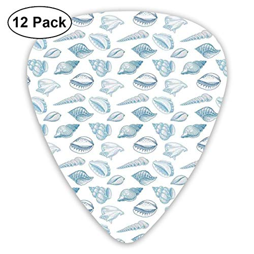Celluloid Guitar Picks - 12 Pack,Abstract Art Colorful Designs,Molluscs Sea Shell Soft Toned Marine Animals Exotic Beach Aquarium Pattern,For Bass Electric & Acoustic Guitars. Neon Soft Shell