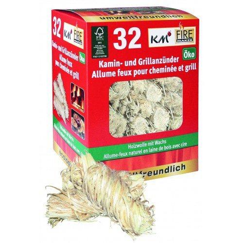 5 Schachteln à 32 Grill- und Kaminanzünder ökologische Holzwolle (160 Anzünder) Testsieger Grillmagazin 1/2011- KM Firemaker Artikel 145