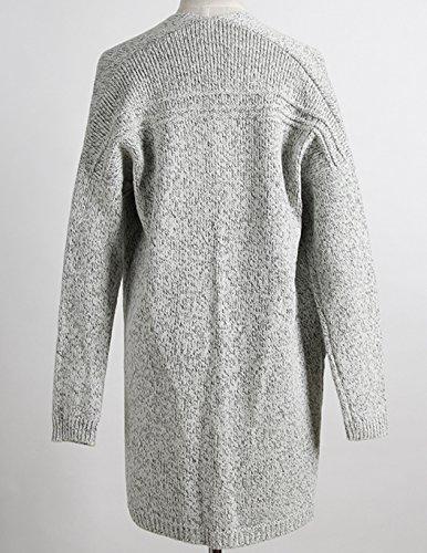 Femmes Casual Moderne Mi-longue Tricot Chandail Cardigans Manche longue Pull Sweaters Manteau Gris