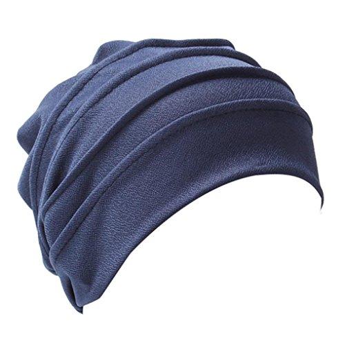 Mützen Transer® Damen Krebs Chemo Hygiene Alopezie Baumwolle Weiß Rot Blau Khaki Beige Make-up Hut Falten Stretch Schal Turban Mützen mit Anhänger (Marine)