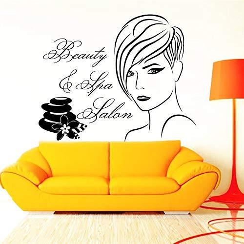 Beauty Hair Salon Barbershop Wandtattoo Aufkleber Cooles Kurzes Haar Gesicht Mit Zitaten Wandkunst Tapete Abnehmbare Vinyl Mura 60x57 cm