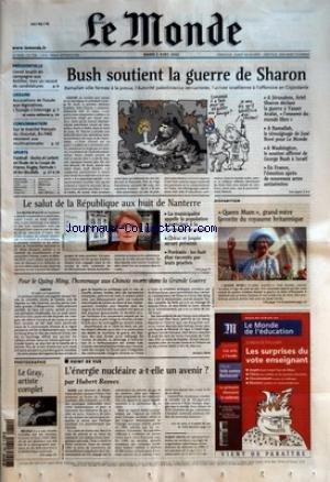 MONDE (LE) [No 17786] du 02/04/2002 - PRESIDENTIELLE - LIONEL JOSPIN EN CAMPAGNE AUX ANTILLES. VERS UN RECORD DE CANDIDATURES - UKRAINE - ACCUSATIONS DE FRAUDE AUX LEGISLATIVES. L'EUROPE S'INTERROGE - ET NOTRE EDITORIAL - CONSOMMATION - SUR LE MARCHE FRANCAIS DU CHOCOLAT, 80 PME RESISTENT AUX MULTINATIONALES - SPORTS - FOOTBALL - BASTIA ET LORIENT EN FINALE DE LA COUPE DE FRANCE. RUGBY, FORMULE 1 ET LES RESULTATS - BUSH SOUTIENT LA GUERRE DE SHARON - LE SALUT DE LA REPUBLIQUE AUX HU
