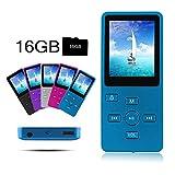 Crillutar Cómodo Reproductor de MP3 / MP4 de 16GB Música / Grabación de Voz con Botón de Bloqueo Independiente / Reproductor de Medios,Incluyendo una Tarjeta Micro SD de 16GB,y Pantalla de 1.8 pulgadas, Visor de Fotos y E-Libro de Apoyo (Azul)