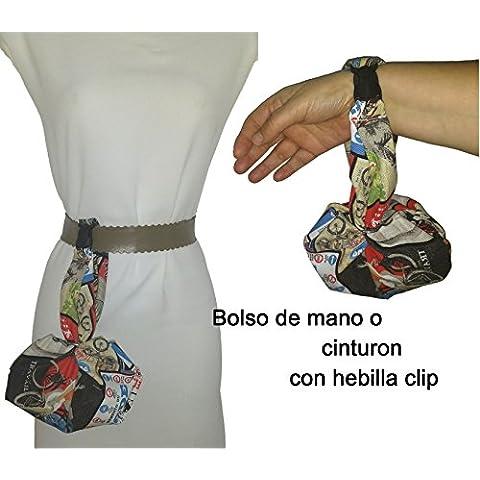 Bolso de mano o cinturón, ESTAMPADO MOTOS ANTIGUAS artesanal, para el móvil, las llaves, la cartera, pañuelos, etc. ideal para ir de paseo, a bailar etc. Con hebilla clip para colgarse donde prefieras. Cabe muchísimo, se hace francamente grande.