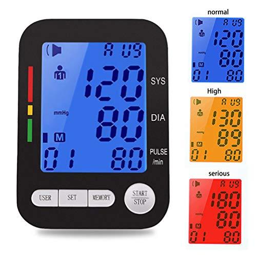Zcthk Intelligentes Oberarm-Blutdruckmessgerät mit Sprachausgabe, LCD-Bildschirm, dreifarbiger Erinnerung für 2 Benutzer und Blutdruckmessgerät mit großer Manschette Lcd-hood Kit