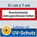 Aufkleber Schild Brandschutztür stets geschlossen halten, mit UV-Schutz, 21x7cm, Hinweisschild für den Brandschutz / Feuerschutztür, Brandschutzzeichen