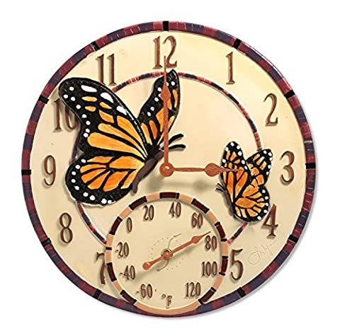 Springfield 14 Mosaic Butterflies Poly Resin Clock with Thermometer by Taylor Precision Products
