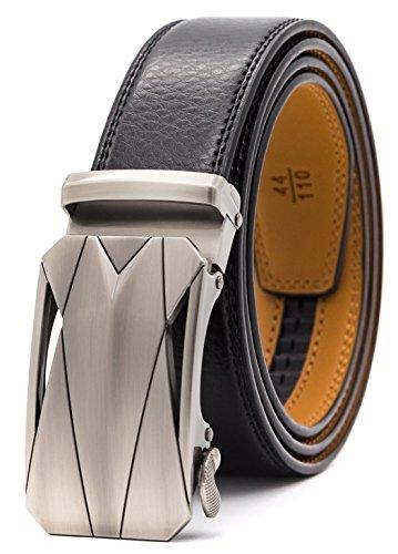 GFG Cinturón de cuero para hombres con hebilla automática 35mm Ancho-0025-140-Negro