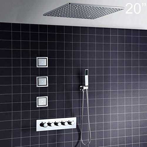 SHIJING Big 50,8 cm Overhead-Decken-LED-Regenduschkopf-Set Badezimmer 5 Funktionstemperaturregler Dusche 3 Wand-Body-Spray 4 -