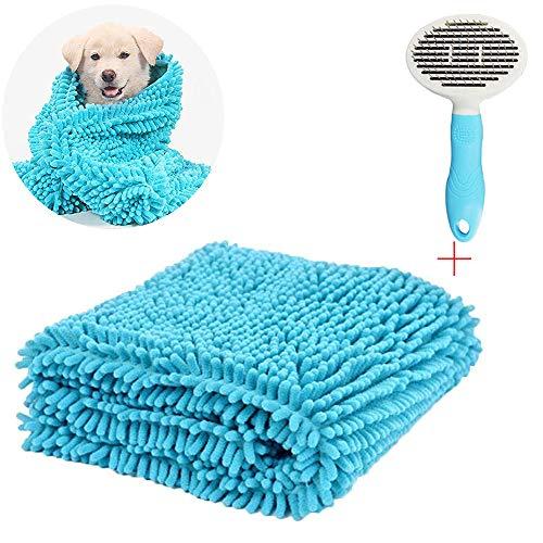 Saugfähige Hundetücher + Haustierkamm - Haustierhandtuch, schnell trocknende Haustiere Hunde Badetuch,mit Taschen - perfekt für jedes Haustier.Hund Haarbürste,Haarentfernungskamm - Kit für Haustiere -