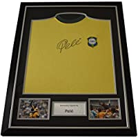 Sportagraphs Pele SIGNED FRAMED Shirt Photo Autograph Scoredraw Brazil Football AFTAL & COA PERFECT GIFT