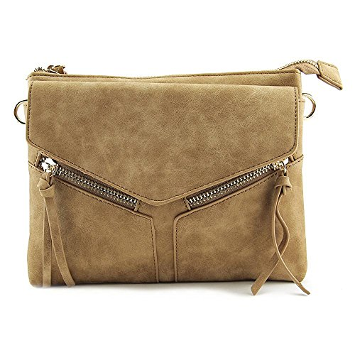 Violet Ray Leanna Envelope Crossbody Donna Ecopelle Cognac
