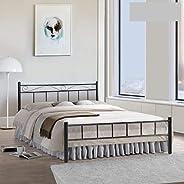 FurnitureKraft London King Size Metal Bed (Glossy Finish, Black)