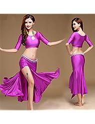 Traje del traje de la demostración del baile de vientre de la mujer / vestido de la danza , m , purple
