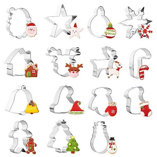 Sinwind 15 Stück Ausstechformen Ausstecher Weihnachts Ausstechformen Set Plätzchenformen aus Edelstahl Metall perfekt für Keks,Backen Fondant Plätzchen,Tortendekorationen