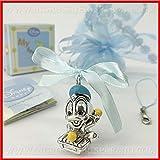Charm con Paperino, firmato Disney, in resina silver e fiocco celeste in raso con cordoncino azzurro portachiavi, bomboniere nascita battesimo bimbo, completo di scatola regalo (senza confezionamento)