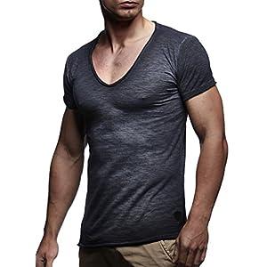 LEIF NELSON Herren Sommer T-Shirt V-Ausschnitt Slim Fit Baumwolle-Anteil | Moderner Männer T-Shirt V-Neck Hoodie-Sweatshirt Kurzarm lang | LN6280-1