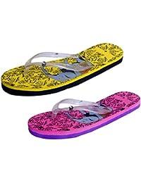 IndiStar Womens Rubber Printed Hawaii Slipper House Flip Flop(Pack Of 2) - B079TXQ37T