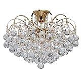 MW-Light 232016406 Lustre Magnifique Design Baroque en Métal couleur Or décoré de Pampilles Boules en Cristal pour Salon Salle de Séjour Chambre 6x60W E14
