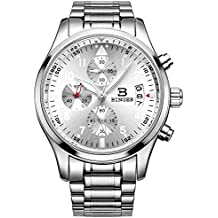 BINGER Men's Chronograph Quartz Watches Arabic Numbers with Date Analog Display and Stainless Steel Band & Leather Strap (silver)