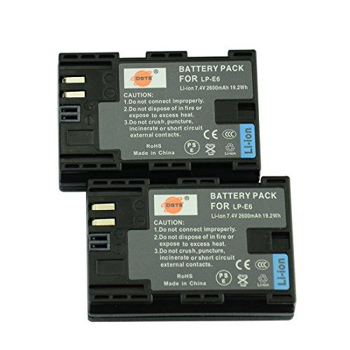 DSTE® 2x LP-E6 Ricaricabile Li-ion Batteria per Canon EOS 5D Mark II EOS 5D Mark III EOS 5DS EOS 6D EOS 7D EOS 60D EOS 60Da EOS 70D 7D markII 7D markIII Macchina Fotografica come LP-E6N