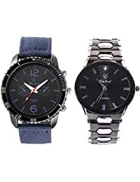 Rico Sordi Men's Premium Leather And Metal Watch Combo Pack Of 2 RSPWC-2-16
