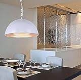 Sai Tai@LED Pendelleuchte Höhenverstellbar Küchen Deckenleuchte Wohnzimmer Designleuchte Deckenlampe Schlafzimmer Modern ,Weiß,Aluminium,50cm