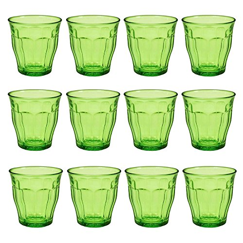 DURALEX Picardie Colored Glasses - 250ml Gobelets pour l'eau, jus - Vert - Lot de 12
