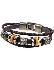 SUYA pulseras,Hombres y mujeres, moda accesorios vintage de la aleación, joyería, pulseras de cuero, joyería de cuentas , coffee color