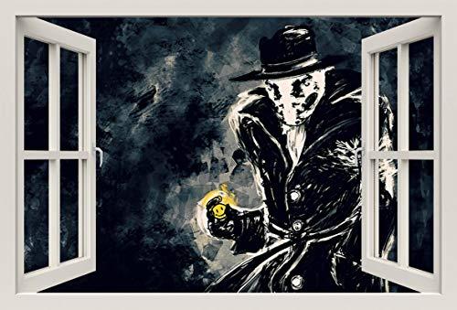(Unified Distribution Rorschach Watchmen - Wandtattoo mit 3D Effekt, Aufkleber für Wände und Türen Größe: 92x61 cm, Stil: Fenster)