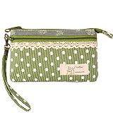 KISS GOLD (TM) Mini Handytasche Geldbeutel mit Polka Dots für Damen und Mädchen Grün