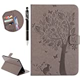 Custodia iPad Mini 4 Flip Case Leather, SainCat Anti-Scratch Book Style Custodia in Pelle Flip Portafoglio Cover per iPad Mini 4-Grigio