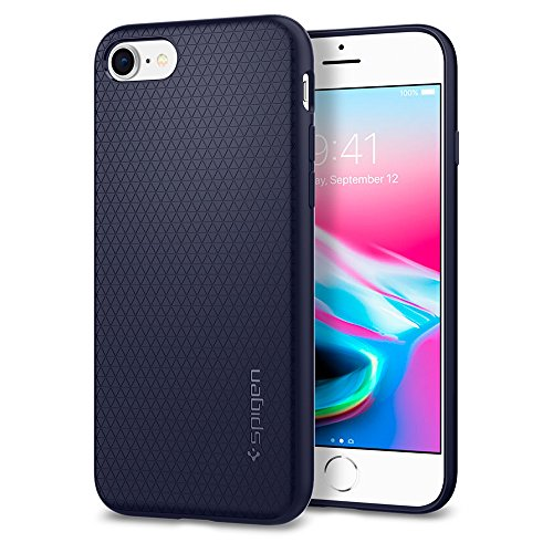 Spigen 042CS21189 Liquid Air Kompatibel mit iPhone 8 Hülle, Stylisch Muster Design Handyhülle Schutzhülle Capsule Case Midnight Blue